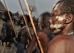 Nuer tribe war dance. Gambella, West Ethiopia.